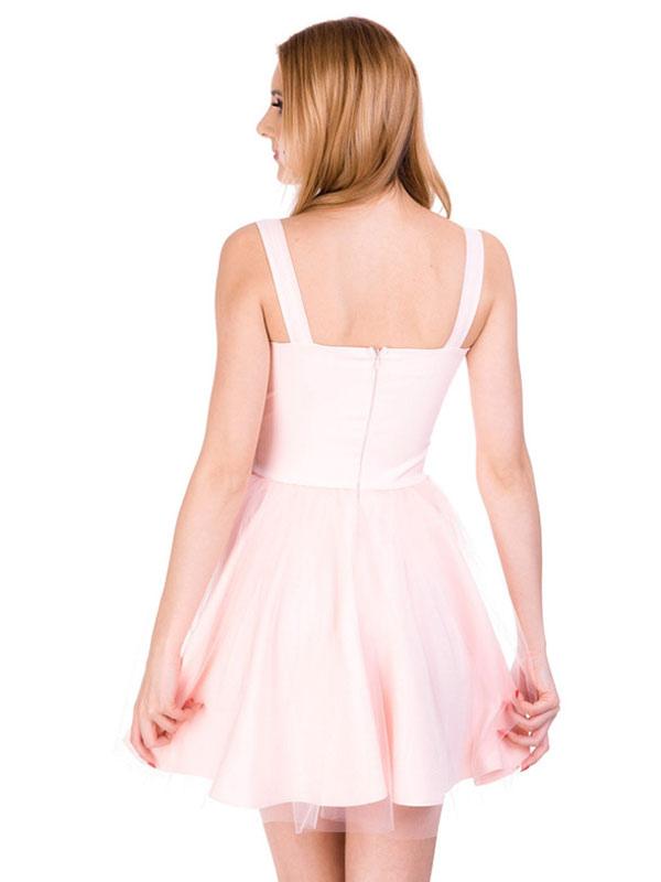 609290747d ... Pink Skater Dress Short Prom Dress Tulle Straps Women Flared Homecoming  Dress-No.2 ...