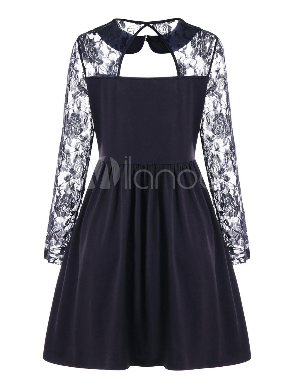 Buy Black Skater Dress Women Dress Peter Pan Collar Lace Long Sleeve Slim Fit Skater Dress for $22.99 in Milanoo store