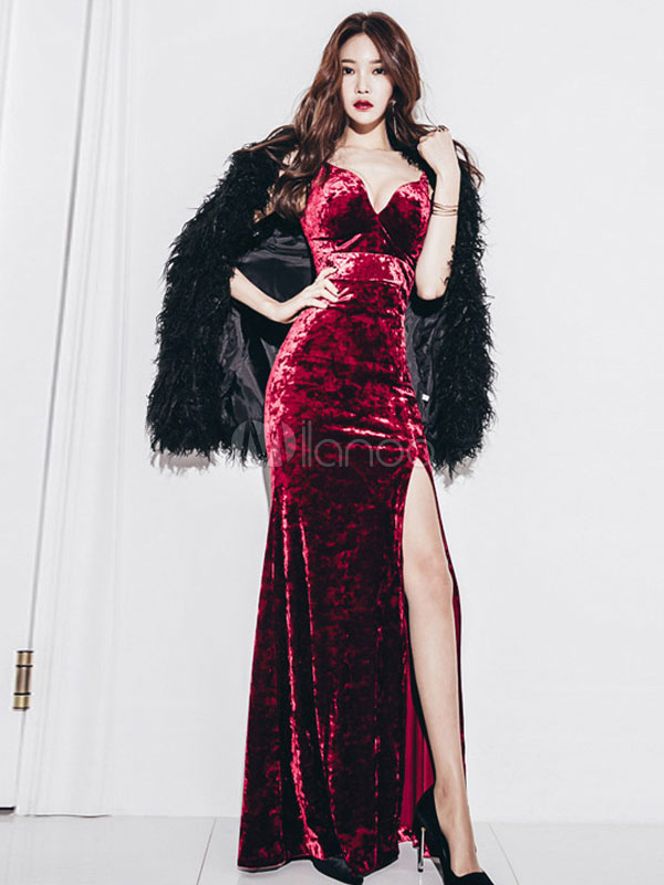 Buy Women Dress Maxi Strappy High Slit Low Back Burgundy Velour Dress for $32.19 in Milanoo store