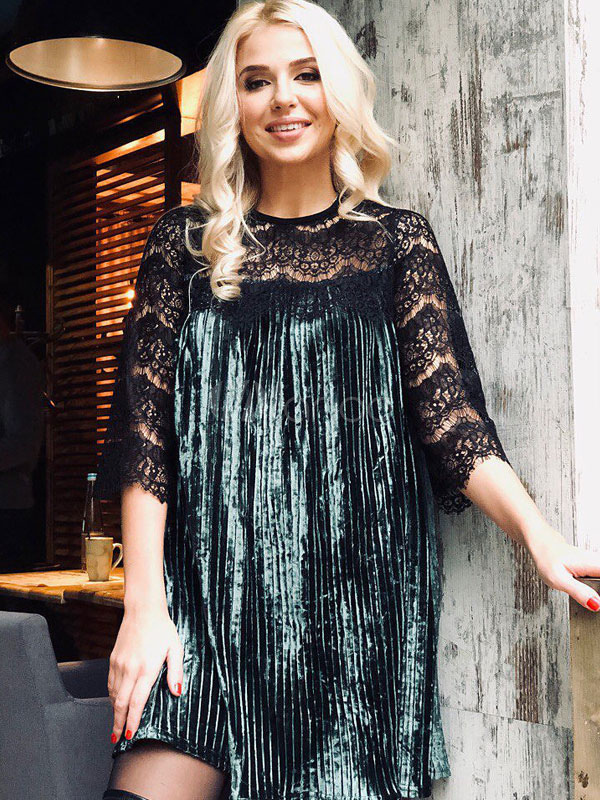 Buy Women Shift Dress Lace Patch Velour 3/4 Sleeve Pleated Green Dress for $22.99 in Milanoo store
