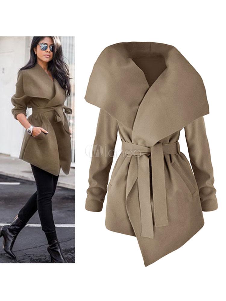 Women Wrap Coat Long Sleeve Belted Trench Coat