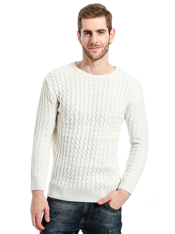 Buy Men Pullover Sweater White Sweater Round Neck Long Sleeve Cable Knit Sweater for $39.99 in Milanoo store