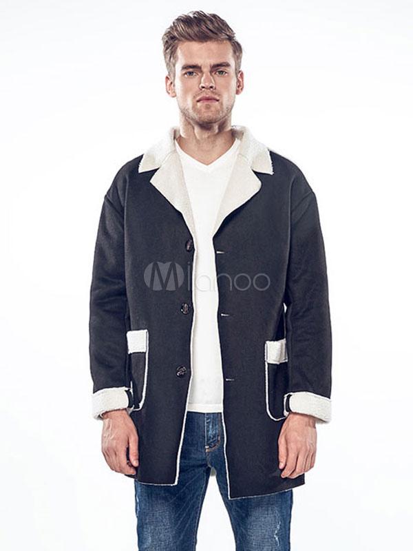 Black Shearling Coat Suede Turndown Collar Long Sleeve Winter Coat