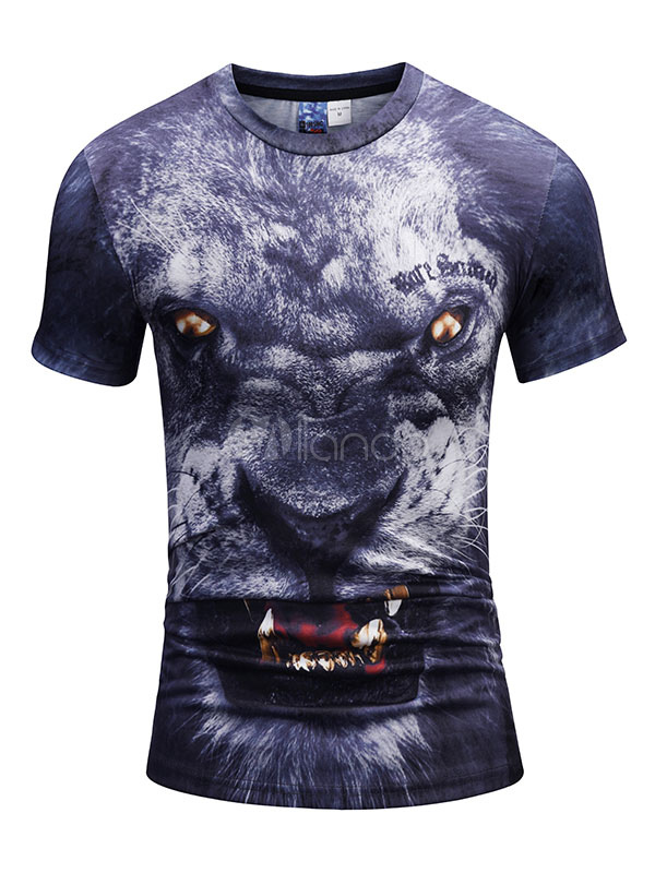 Buy Men Casual T Shirt Round Neck 3D Print Animal Graphic Deep Blue Short Sleeve T Shirt for $14.99 in Milanoo store