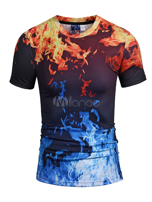 Buy Black T Shirt Men T Shirt Round Neck Short Sleeve Printed Casual Shirt for $14.24 in Milanoo store
