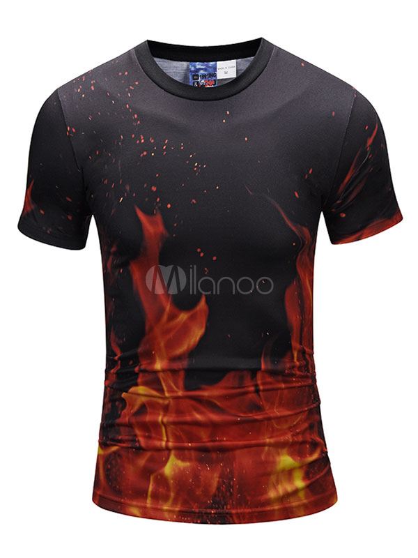 Buy Black T Shirt Men T Shirt Round Neck Short Sleeve Printed Slim Fit Casual Top for $14.24 in Milanoo store