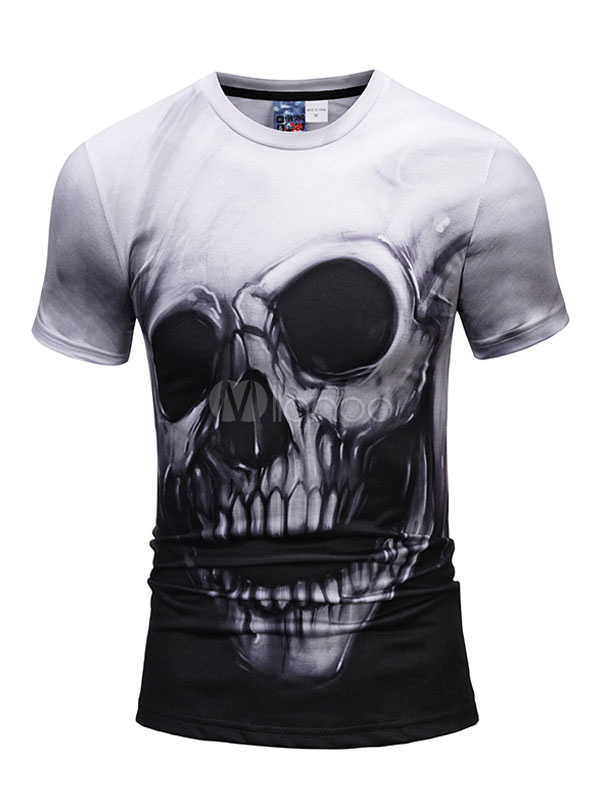 Black T Shirt Round Neck Short Sleeve Printed Casual Top Men T Shirt