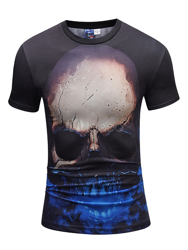 Buy Men T Shirt Black Round Neck Short Sleeve Skull Printed T Shirt Casual Top for $14.24 in Milanoo store