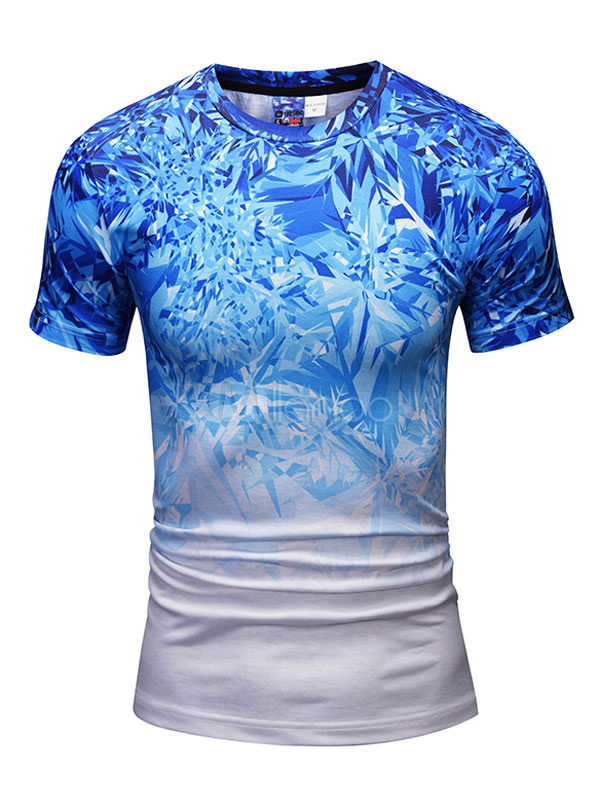 Buy Short Sleeve T Shirt Blue Round Neck Printed Casual Top Men T Shirt for $14.24 in Milanoo store