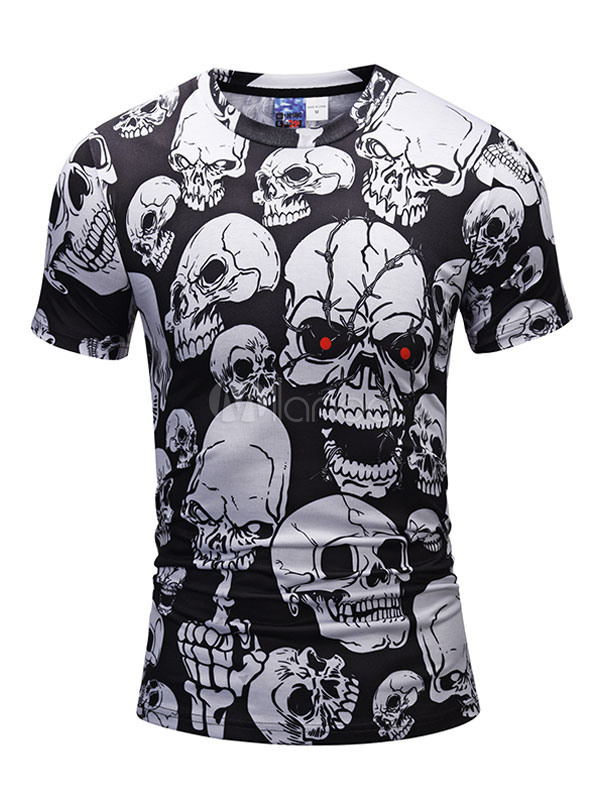 Buy Black T Shirt Short Sleeve T Shirt Round Neck Skull Printed Slim Fit Casual Top for $14.24 in Milanoo store