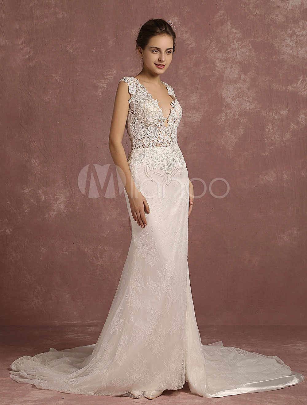 Mermaid Wedding Dress V-Neck Illusion Lace Beading Chaple Train Bridal Dress