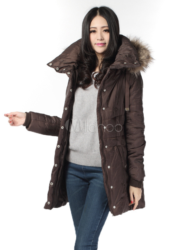 Hooded Winter Coat Women's Pockets Medium Length Slim Fit Quilted Coat Cheap clothes, free shipping worldwide