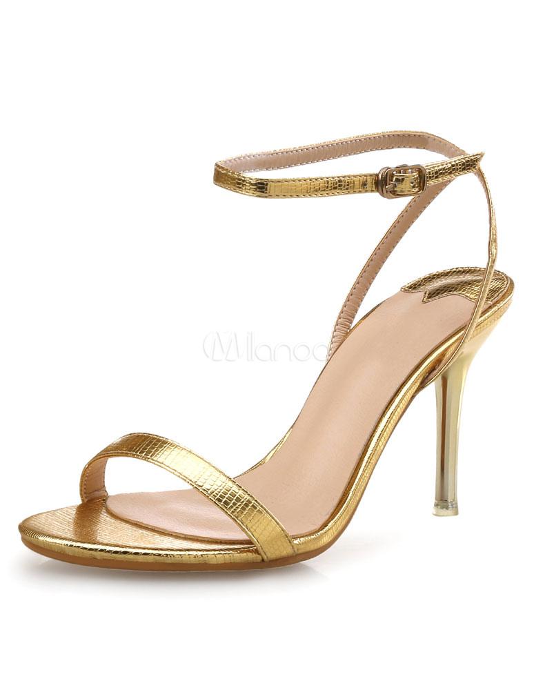 Shiny Gold PU Leather Metallic Stiletto Heel Rubber Sole Dress ...