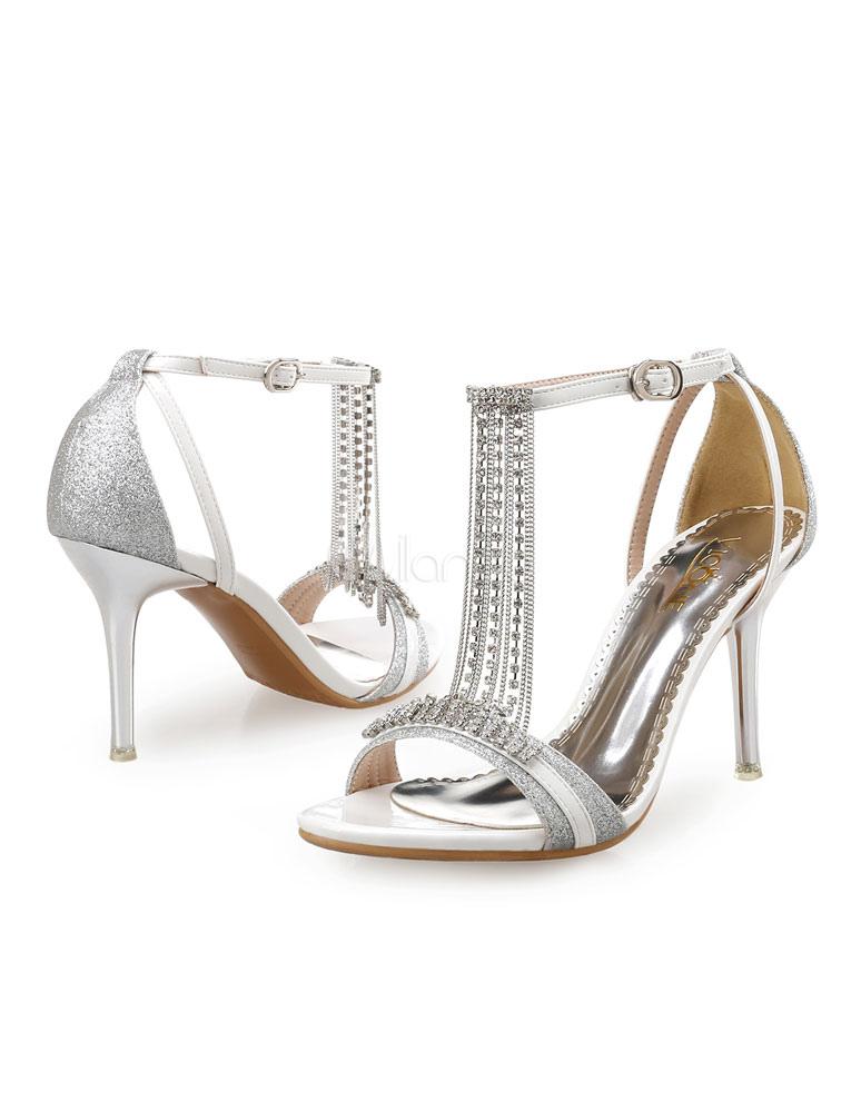 Sexy PU Leather Rhinestone Chain Stiletto Heel Bridal Sandals