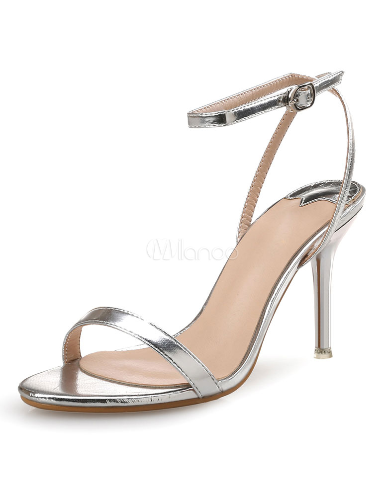 343f87e59a2d Shiny Gold PU Leather Metallic Stiletto Heel Rubber Sole Dress Sandals For  Ladies -No.
