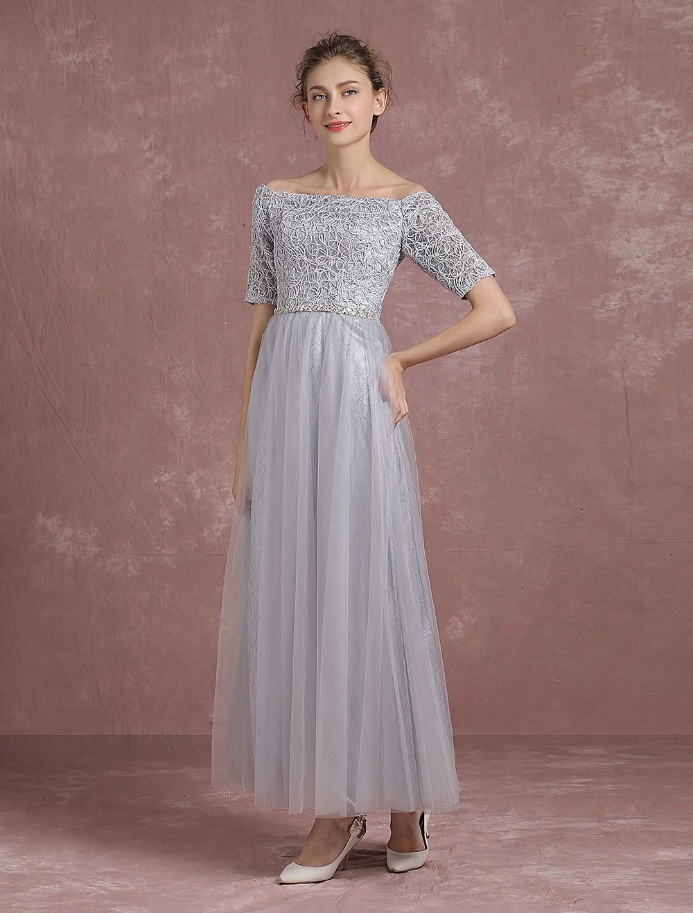 029dfb380e Off The Shoulder Evening Dresses Grey Tulle Mother Of The Bride Dresses  Half Sleeve Lace Up ...