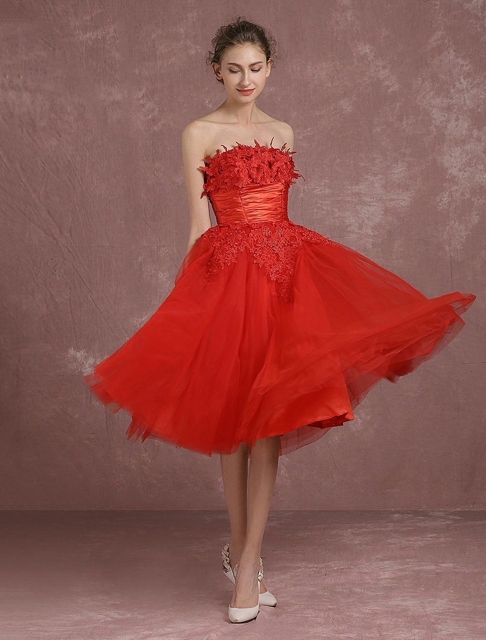 Red Prom Dresses 2018 Short Strapless Backless Cocktail Dress Tulle ...
