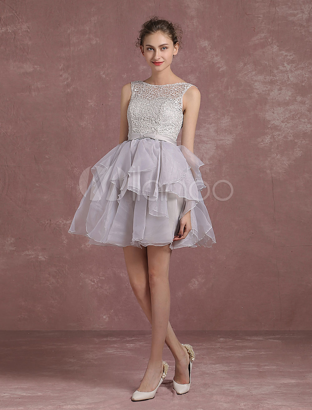 Buy Short Homecoming Dresses Backless Illusion Neckline Organza Graduation Dresses A Line Tiered Lace Up Party Dresses With Bow Sash for $65.99 in Milanoo store