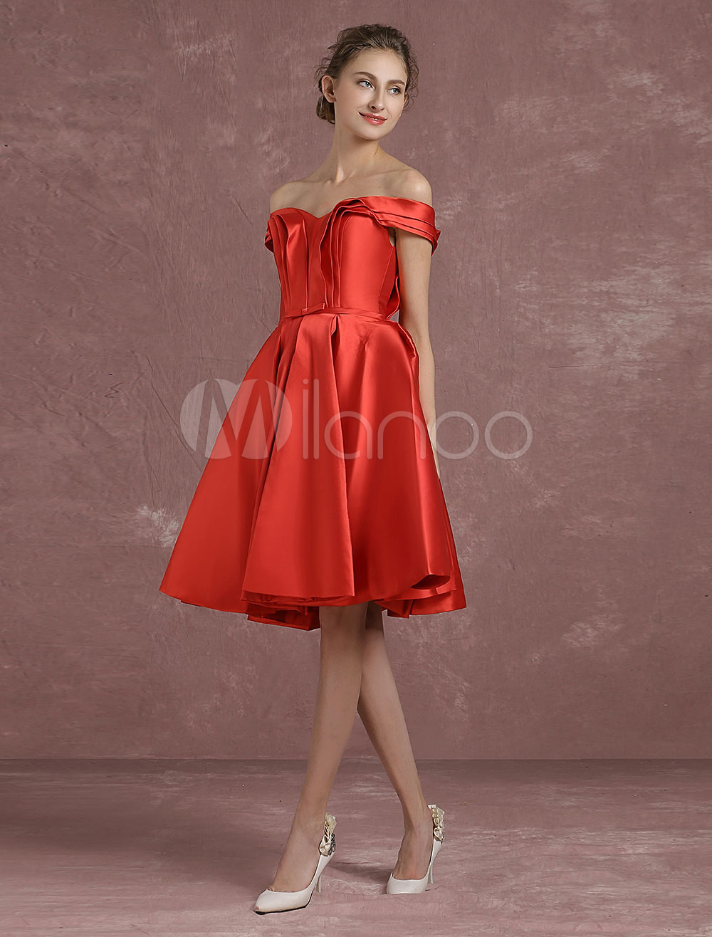 446b8657d1056a ... Off The Shoulder Cocktail Dress Red Satin Homecoming Dress Ruched A  Line Knee Length Party Dress ...