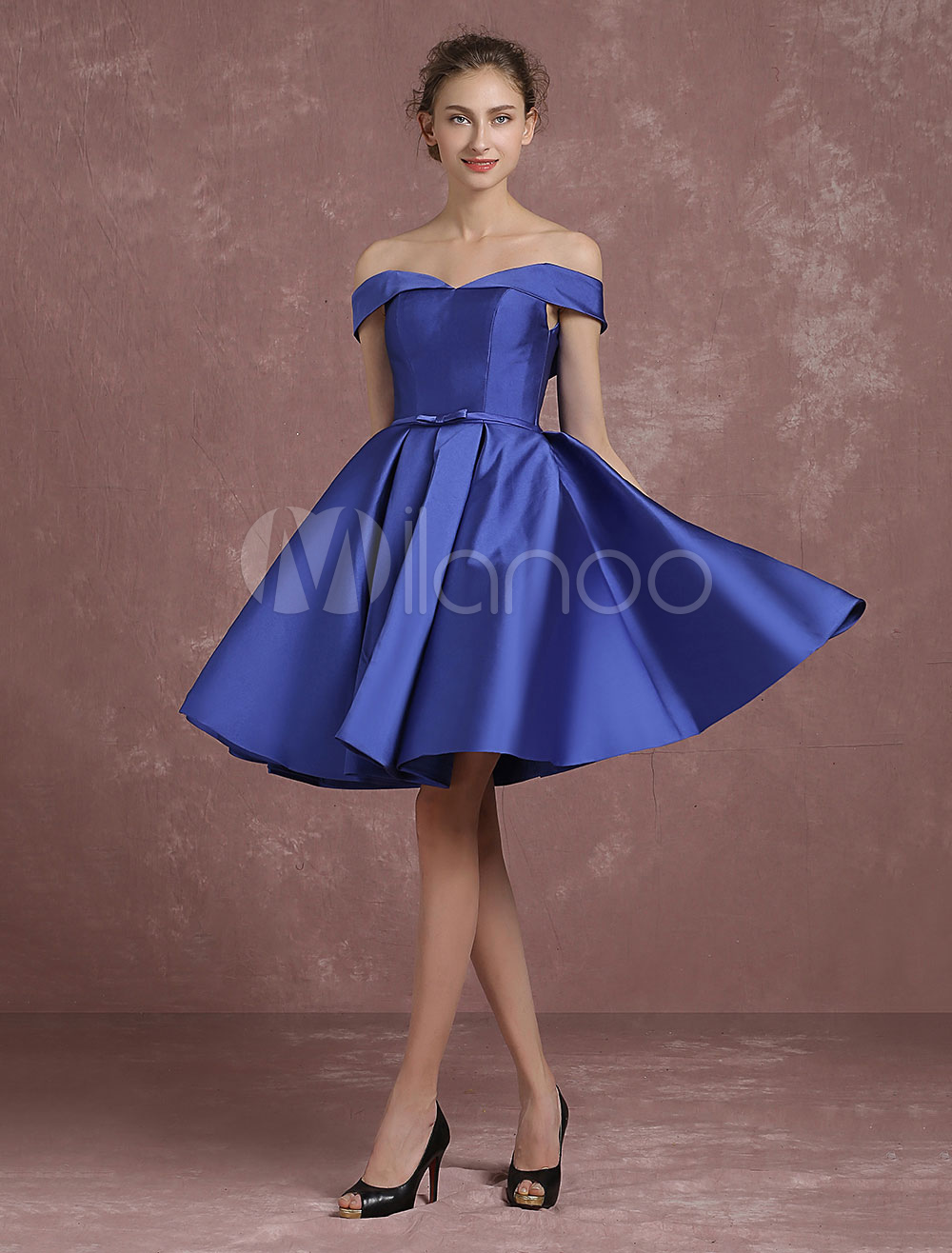 ec9fef06f3 Royal Blue Cocktail Dress Off The Shoulder Satin Prom Dress V Neck Pleated  A Line Knee ...