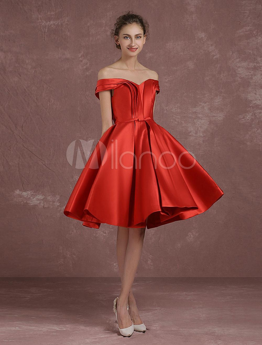 con de Satén Tela cóctel hombros escote Vestido lazo caídos con sin de rojo mangas Ht7wxndq