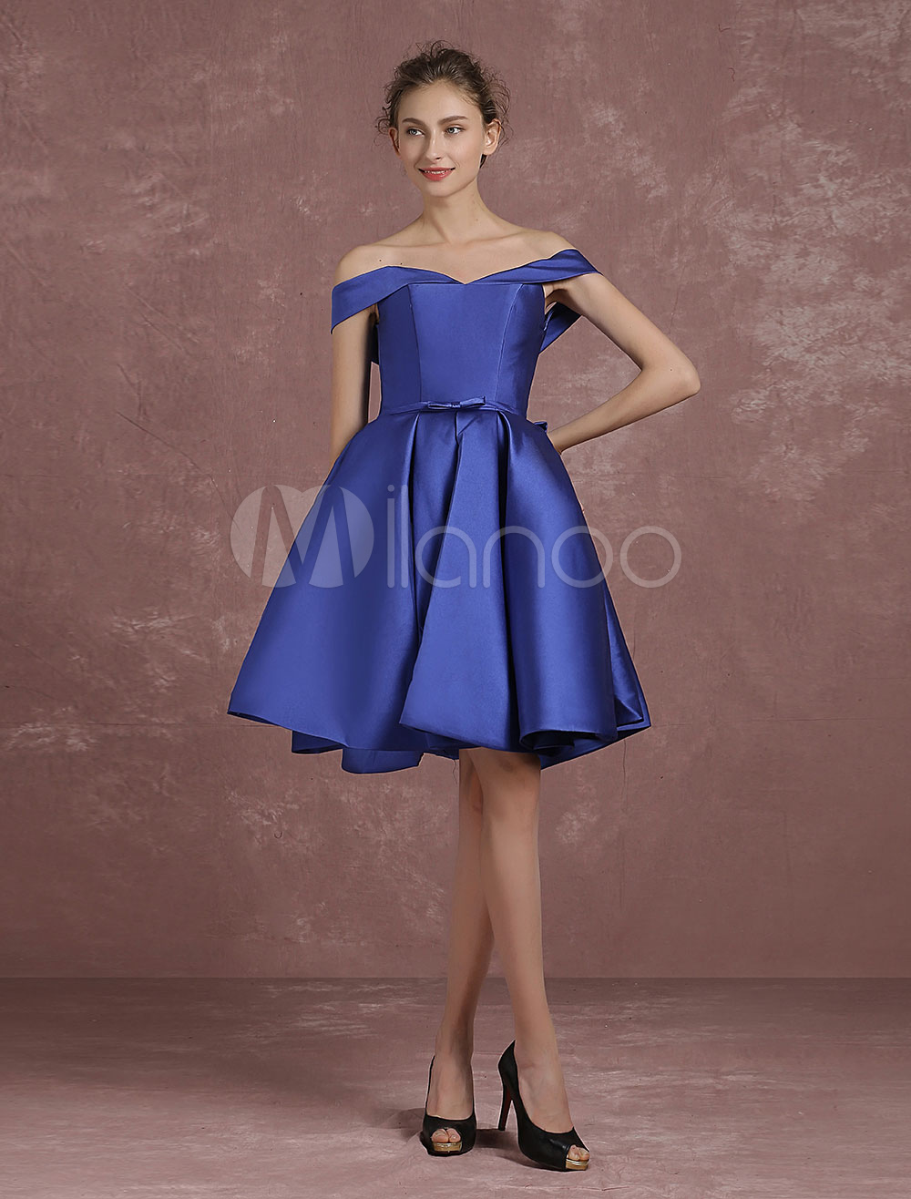 ad8a747867 ... Royal Blue Cocktail Dress Off The Shoulder Satin Prom Dress V Neck  Pleated A Line Knee ...