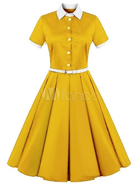 Vintage Dress 2018 Women Yellow Shirt Dress Short Sleeve Midi Dress Belted Retro Swing Dress