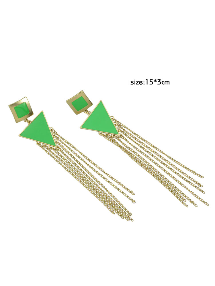 women duster earring chain fringe geometric gold dangle earring. Black Bedroom Furniture Sets. Home Design Ideas