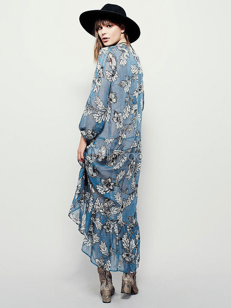 acac67bf093 ... Boho Maxi Dress Chiffon Light Blue Plunging Neckline Long Sleeve Floral  Printed Pleated Long Dress-