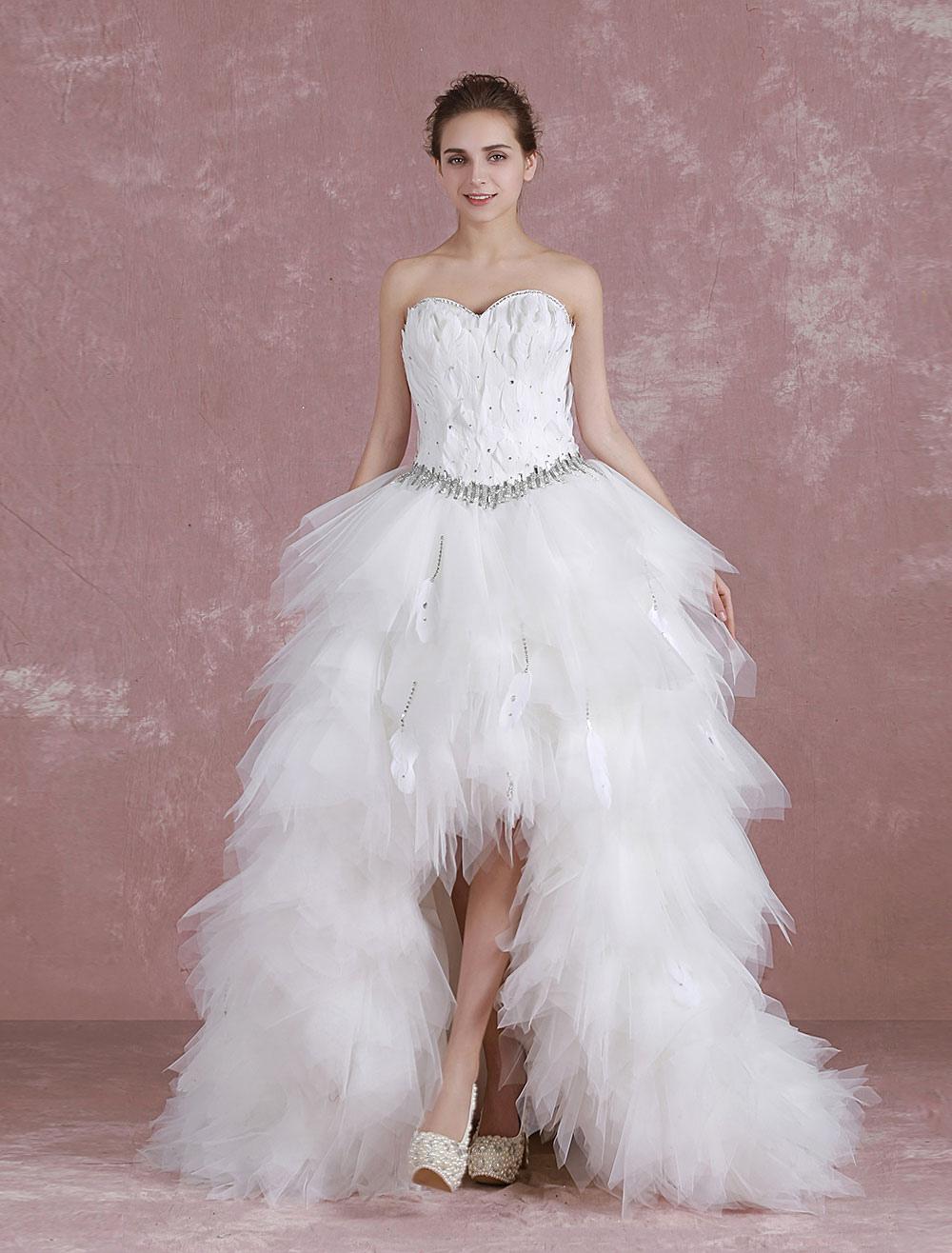 Prom-Brautkleid mit Herz-Ausschnitt und Federn in Weiß - Milanoo.com