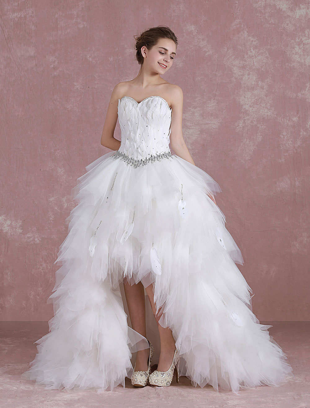 White ball gown sweetheart neck feather wedding dress for for White feather wedding dress