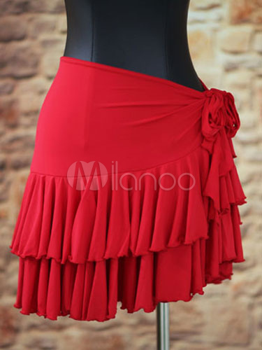 Rose Red Latin Dance Lace Up Nylon Dress for Women