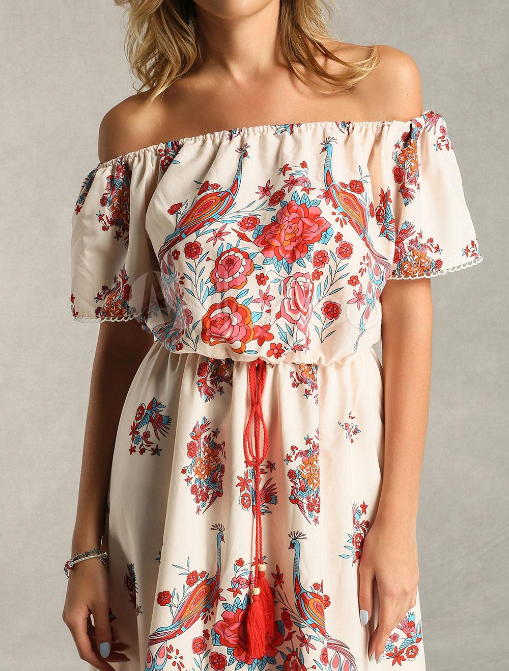 Boho kleid carmen ausschnitt gedruckt sommerkleid - Kleider milanoo ...