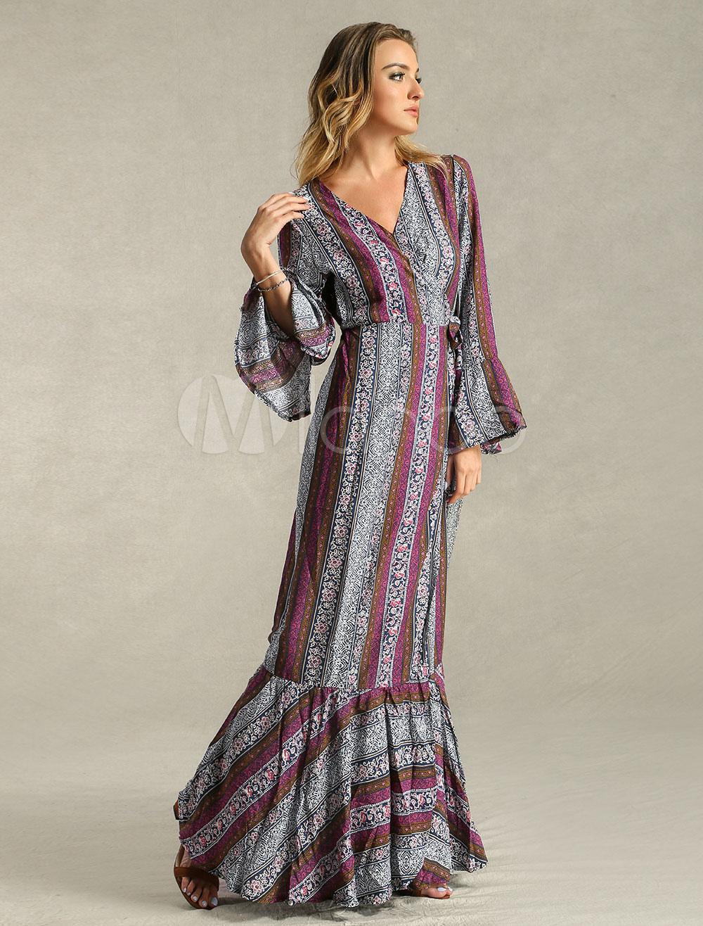 maxikleid langarm sommerkleider lang pflaume damenmode v-ausschnitt mit  print für frühling bohemian kleider maxi kleid und alltag baumwolle kleider