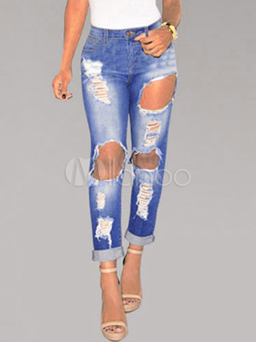Blue Ripped Jeans Distressed Broken Denim Jeans For Women Cheap clothes, free shipping worldwide
