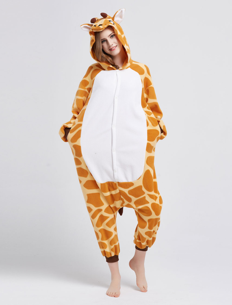 b679e515f376 Kigurumi Pajama Giraffe Onesie For Adult fleece Flannel Animal Costume  Halloween-No.1 ...