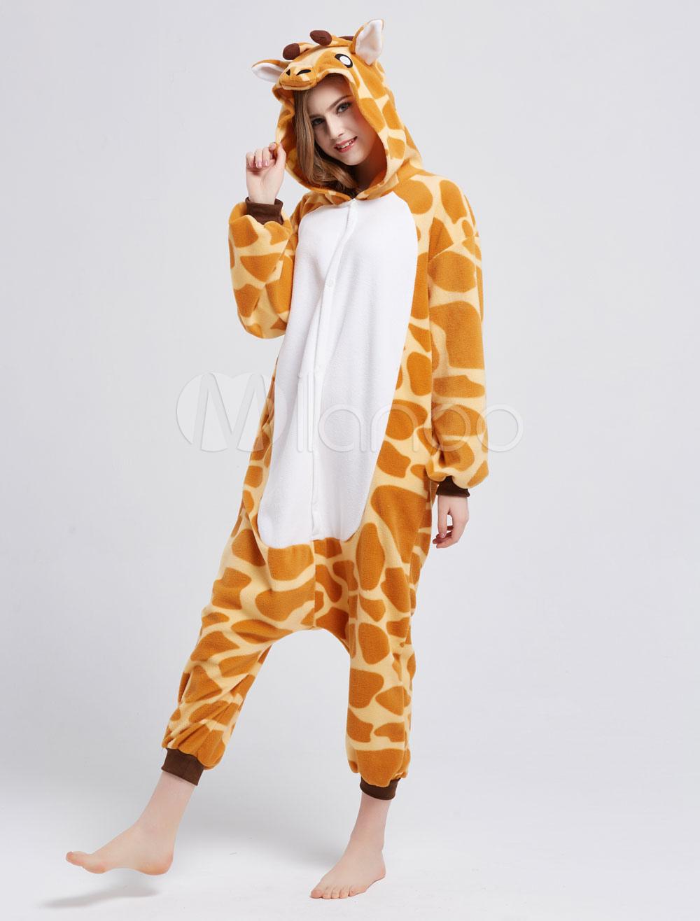 422e2c8515 ... Kigurumi Pajama Giraffe Onesie For Adult fleece Flannel Animal Costume  Halloween-No.3 ...