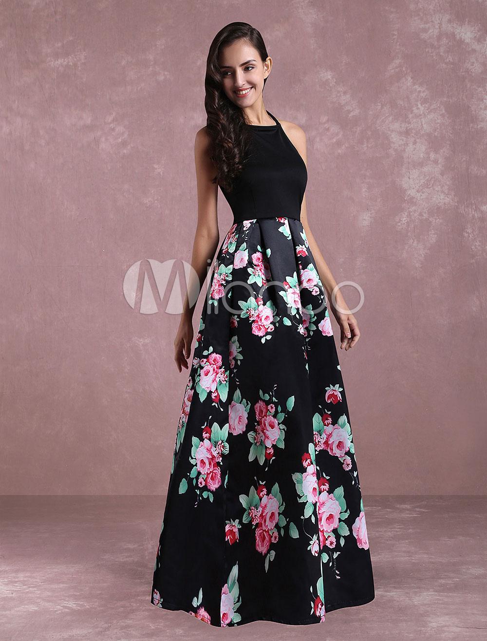 Flroal Maxi Dress Open Back Women's Sleeveless Casual Dress Cheap clothes, free shipping worldwide