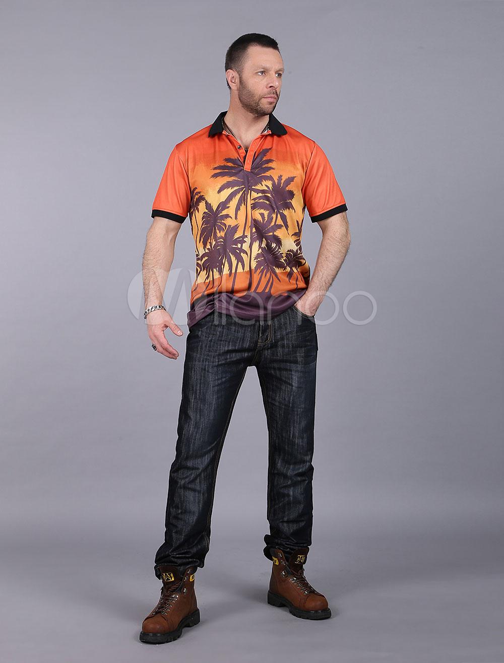 Cotton Polo Shirt Men's Burgundy Turndown Collar Short Sleeve Palm Tree Printed Shirt