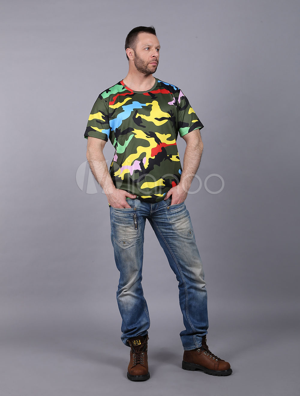 Men's Camouflage T Shirt Printed Short Sleeve Casual Side Zipper Hunter Green T-Shirts