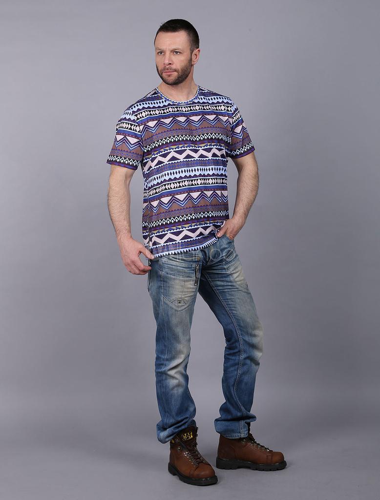 Buy Printed Men's T Shirt Short Sleeve Side Zipper Zigzag Pattern Dark Navy Round Neck T-shirts for $13.99 in Milanoo store