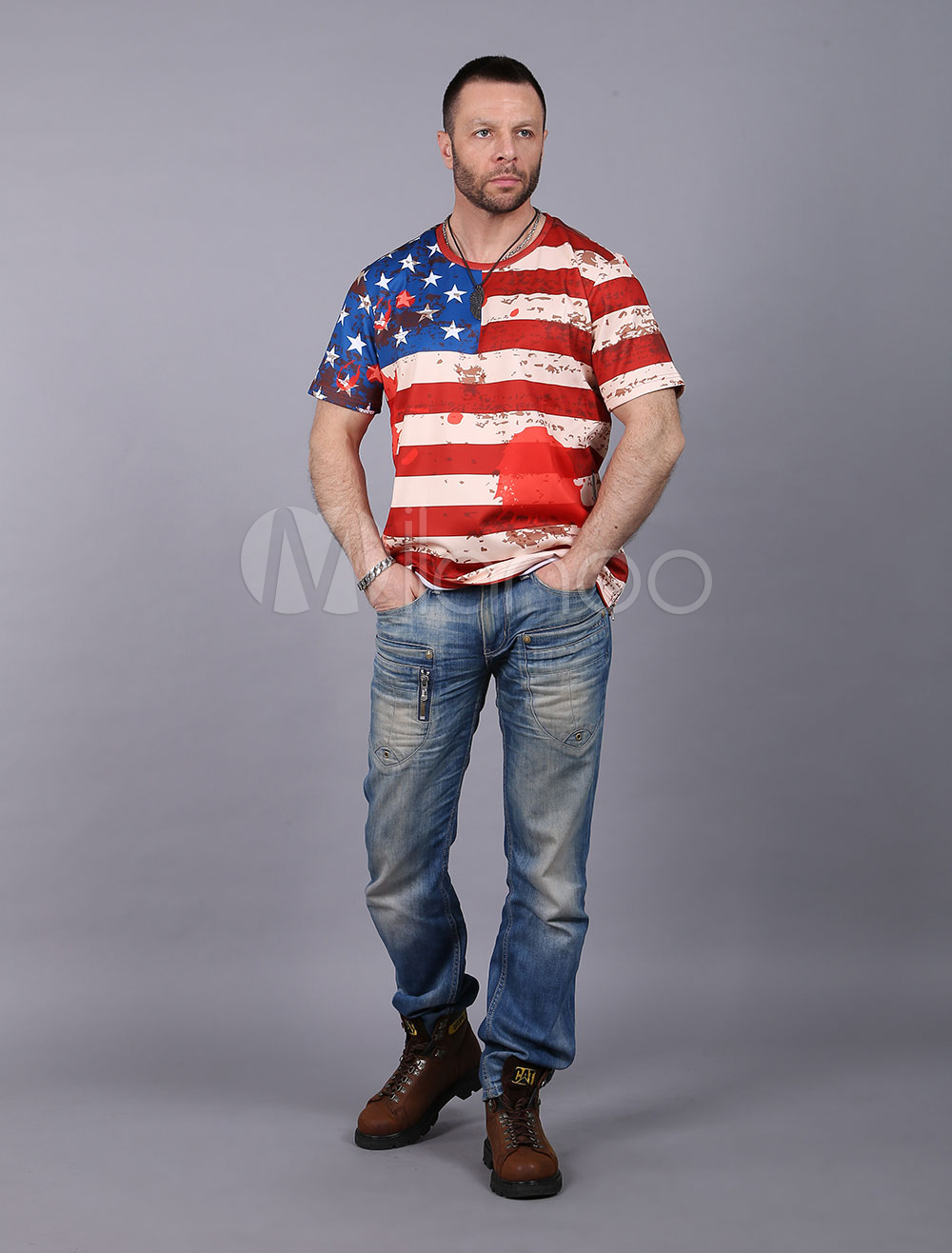 Buy Men's Red T Shirt Painted Stars Striped Flag Printed Side Zipper Round Neck Short Sleeve T-shirt for $13.99 in Milanoo store