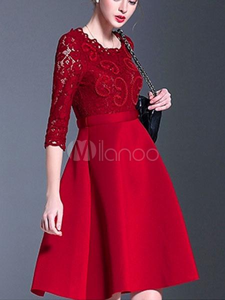 a8225ed1f Vestido vermelho Skater redondo pescoço manga longa renda Patchwork A linha  Slim Fit Flare vestido- ...