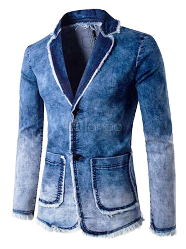 Buy Denim Blazer Blue Turndown Collar Ragged Hem Casual Blazer For Men Washed 2 Button Suit Jacket for $37.79 in Milanoo store