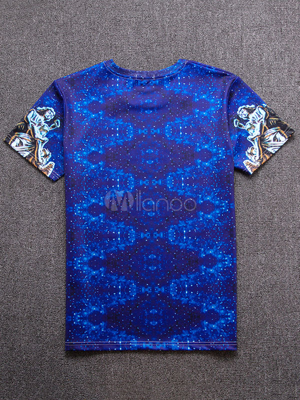 Buy Blue T Shirt Men's Round Neck Short Sleeve Printed Casual Top for $9.89 in Milanoo store