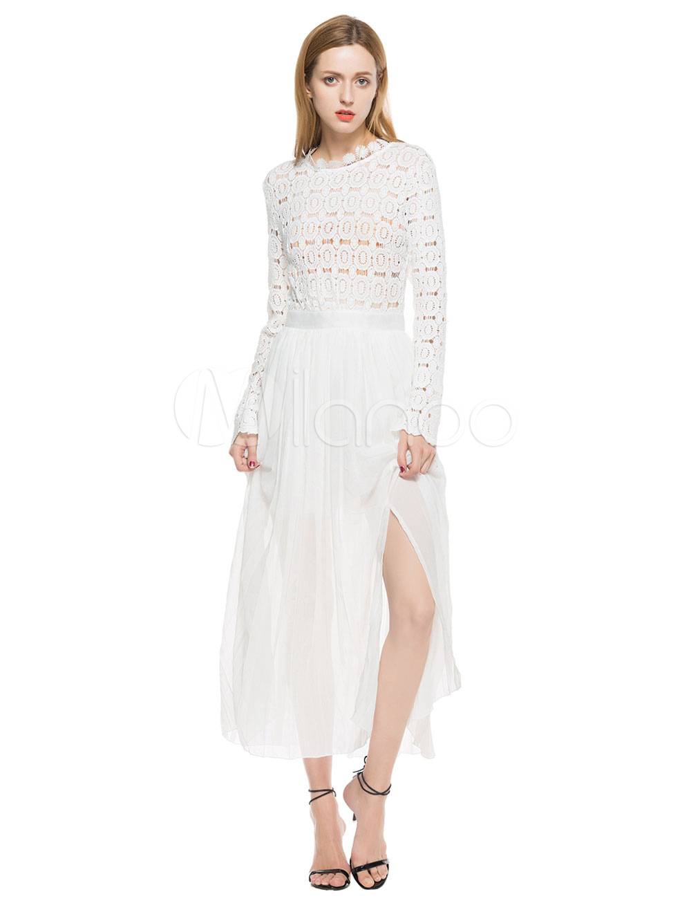 Buy White Long Dress Chiffon Round Neck Long Sleeve Cut Out Slit Floor Length Maxi Dress for $43.99 in Milanoo store