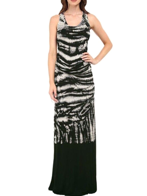 Floor Length Sleeveless Tie Dye Maxi Dress