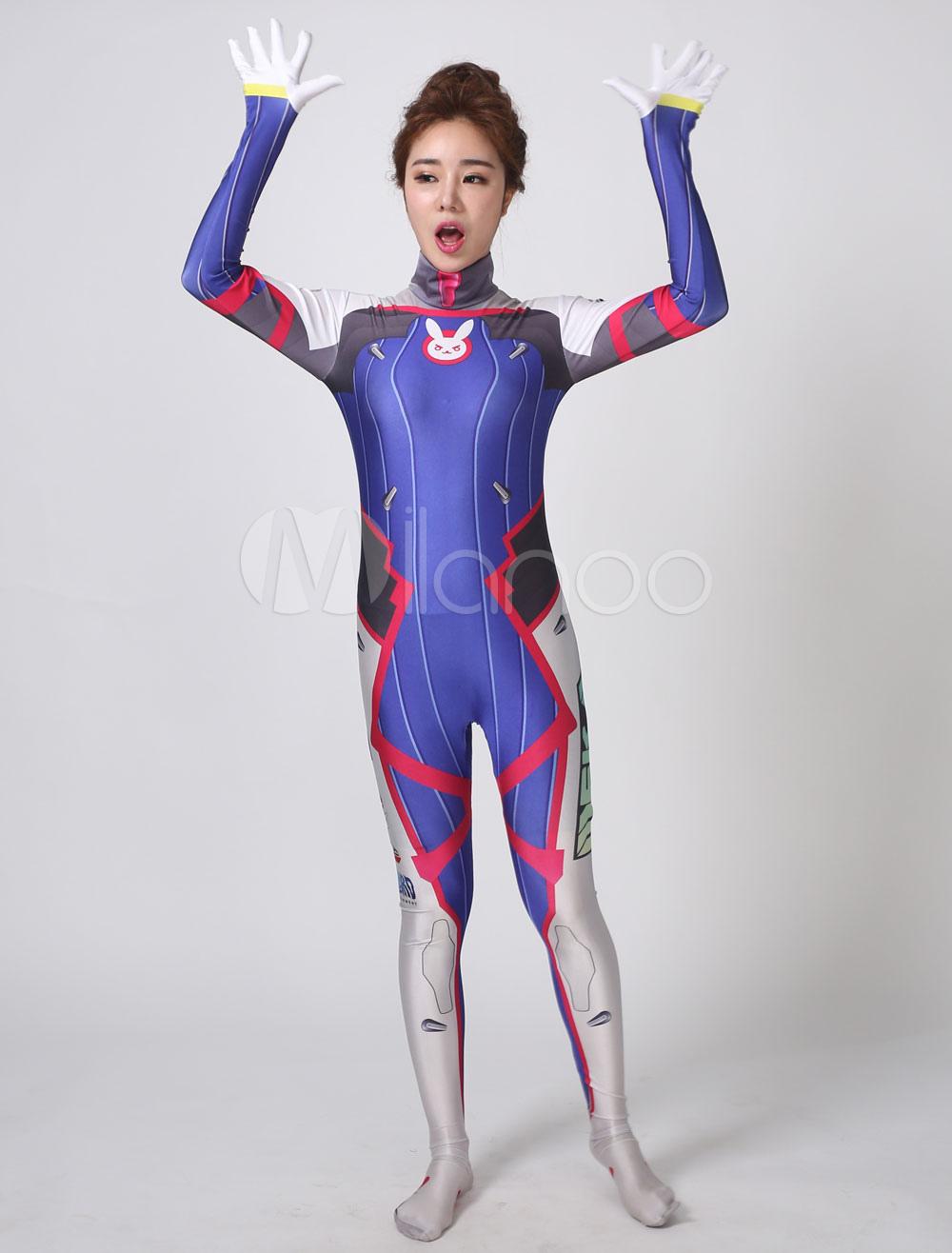 Halloween Cosplay 2020 Overwartch Overwatch D.va Cosplay Costume Blue Women's Lycra Jumpsuit