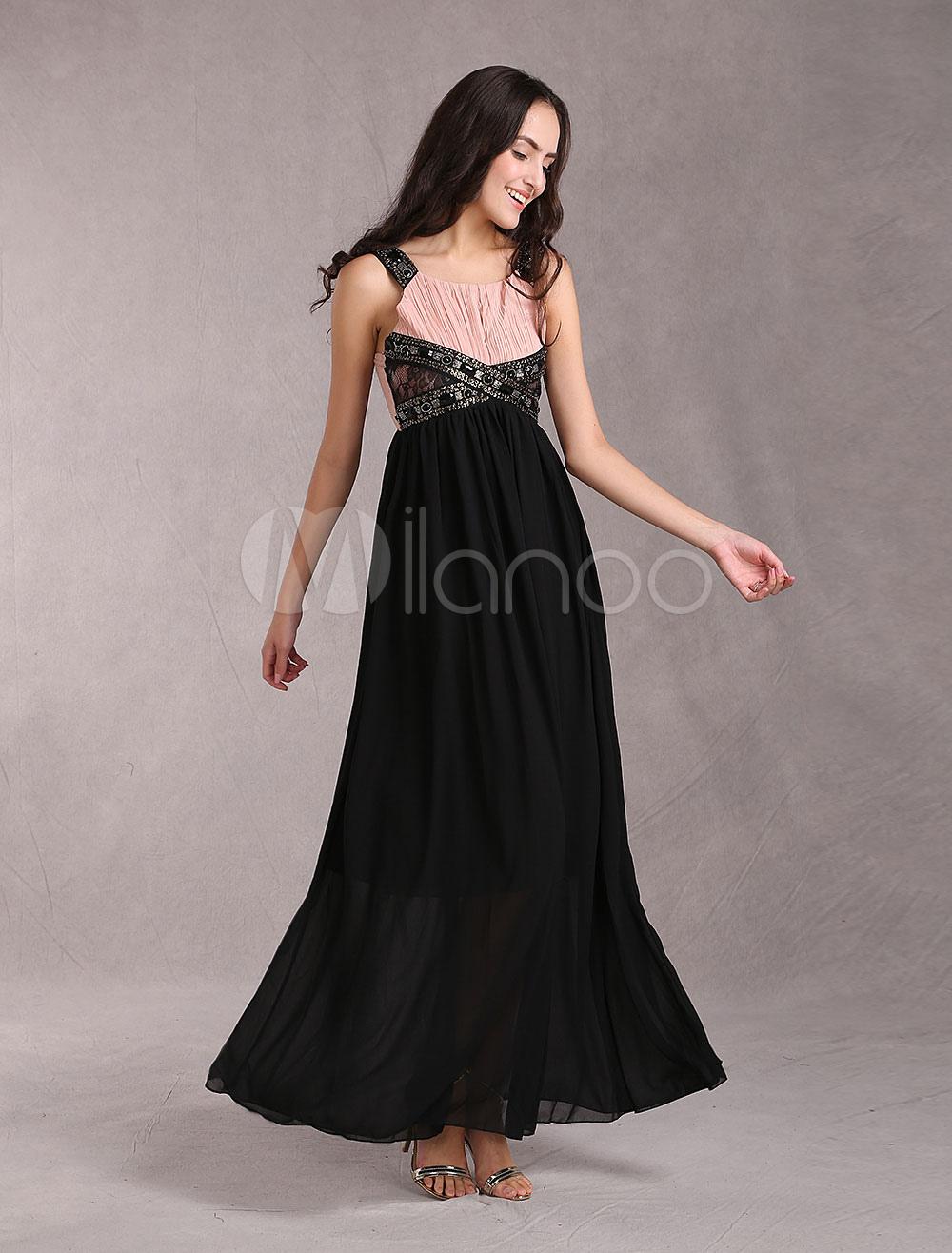 robe longue de soir e gracieuse en chiffon avec sangle. Black Bedroom Furniture Sets. Home Design Ideas