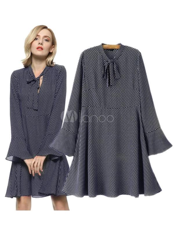 Buy Chiffon Shift Dress Black Bow Collar Long Flare Sleeve Polka Dot Pleated Short Dress for $20.79 in Milanoo store